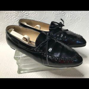 Manolo Blahnik shiny black leather loafers